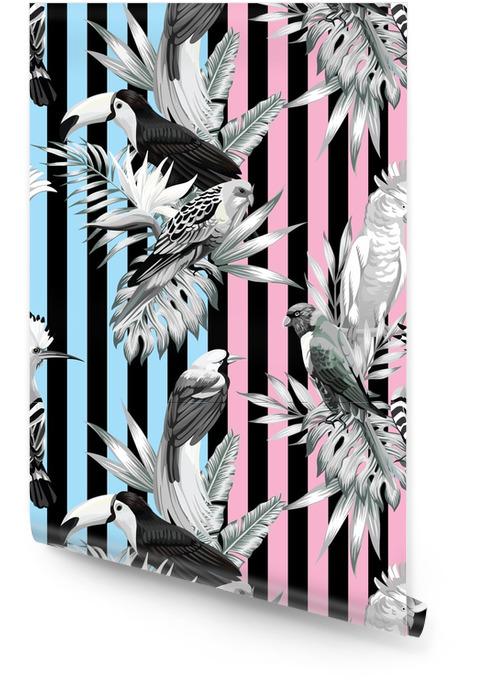 Patrón de pájaros tropicales y hojas de palma Rollo de papel pintado - Animales