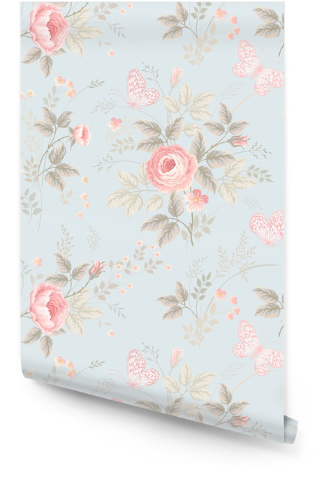 seamless floral pattern with roses and butterflies Wallpaper roll - Plants and Flowers