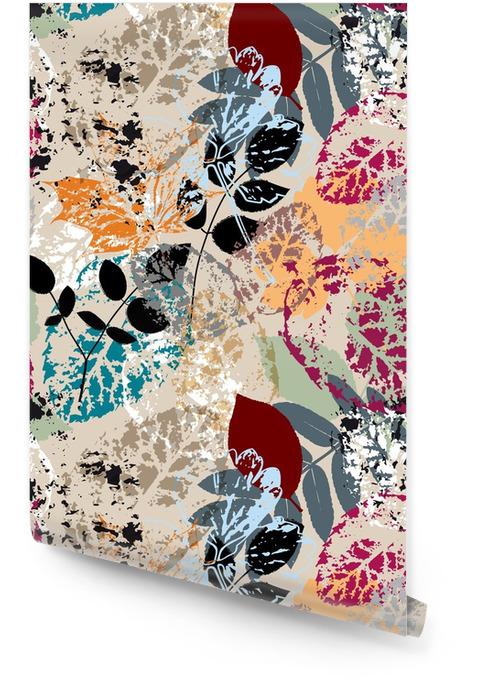 Motif de fond sans soudure, avec des feuilles, des coups et des éclaboussures Rouleau de papier peint - Automne