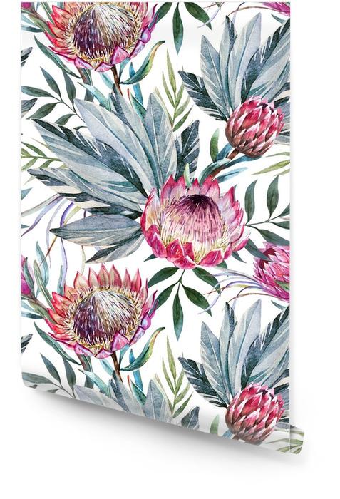 Patrón de proteas tropical raster Rollo de papel pintado - Plantas y flores