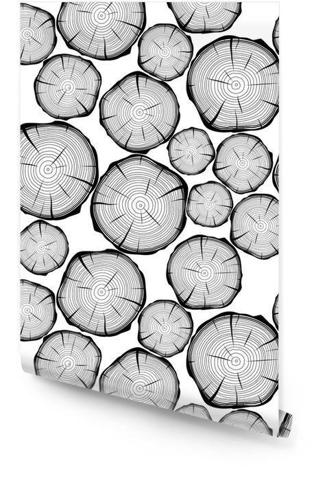 Naadloos patroon met boomringen. vector achtergrond Behangrol - Grafische Bronnen