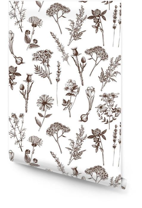 Vecteur seamless à l'encre tirée par la main médicinale esquisse herbes Rouleau de papier peint - Plantes et fleurs