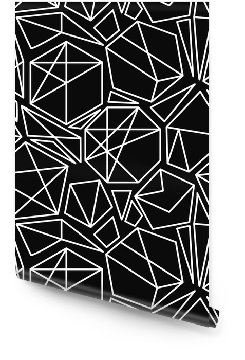 Black and white vector geometric seamless pattern Wallpaper Roll - Graphic Resources